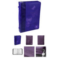 """Pochette bible, Taille L, """"Therefore [...]"""" 2 cor 5.17 papillons, Violet- Similicuir"""